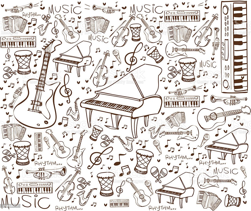 Music Instruments Doodle vector art illustration