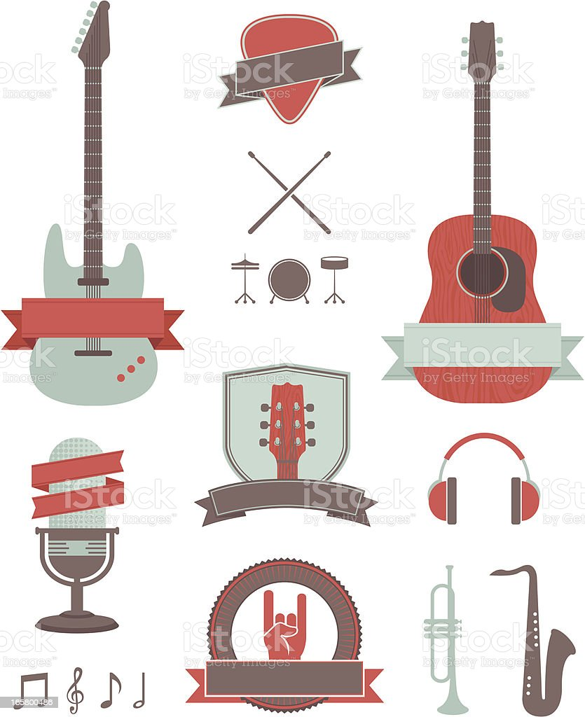 Music instruments illustrations vector art illustration