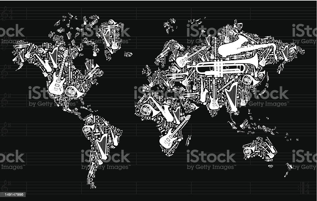 Music instruments in world map vector art illustration