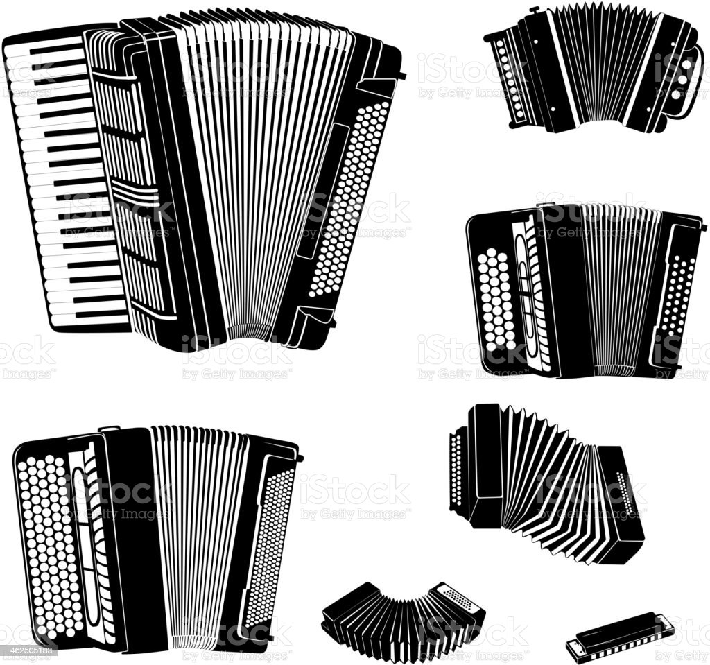 Music instruments set vector art illustration