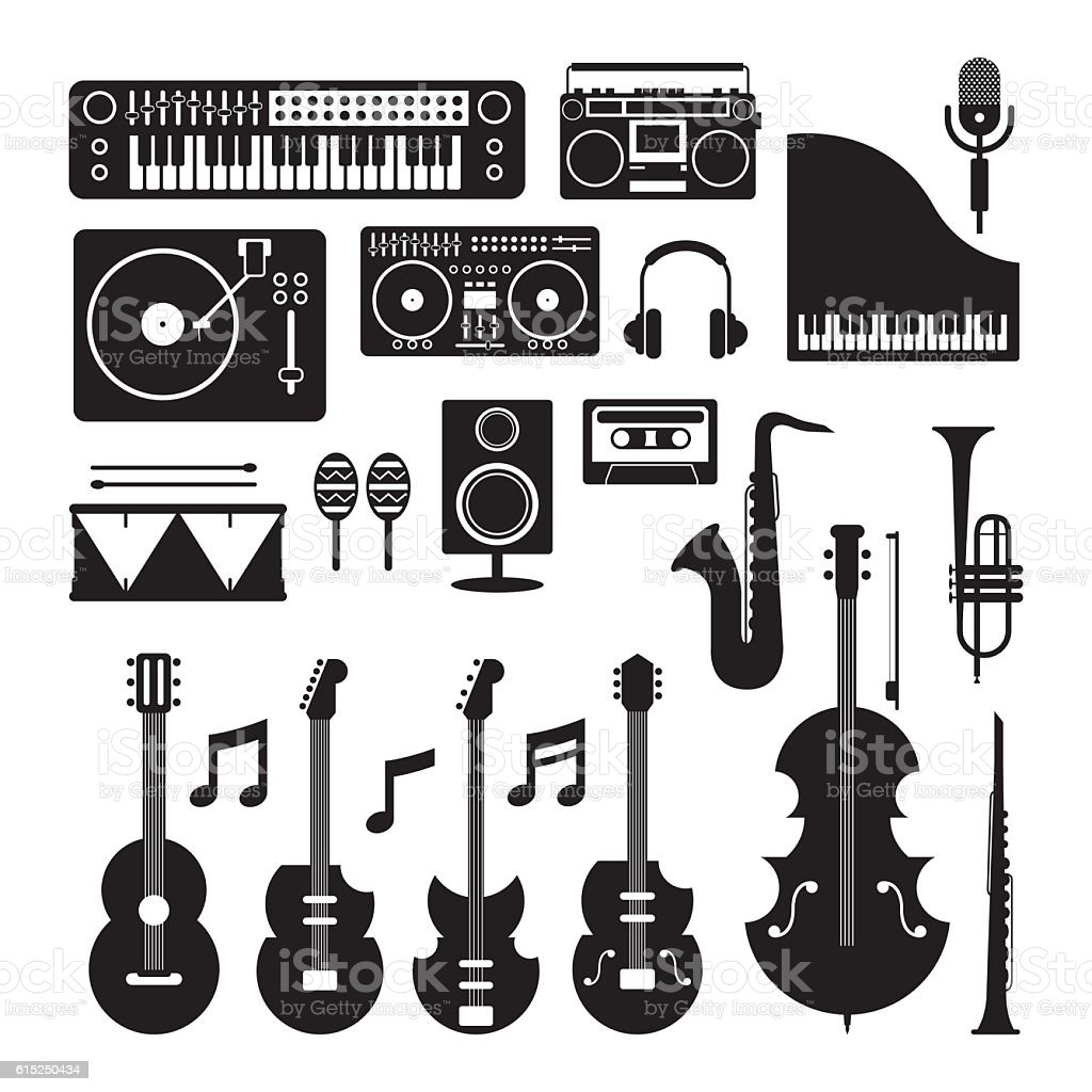 Music Instruments Silhouette Objects Set vector art illustration
