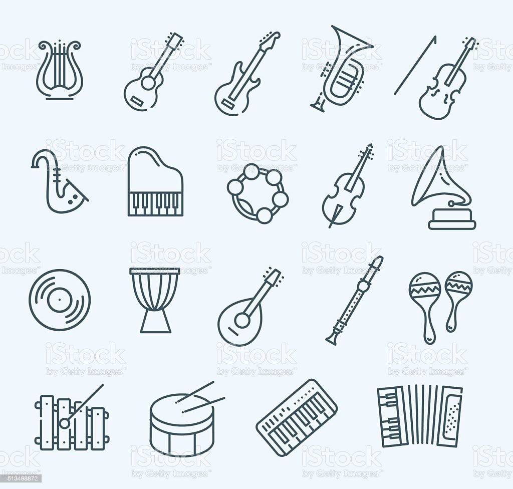 music instruments. Vector icons vector art illustration