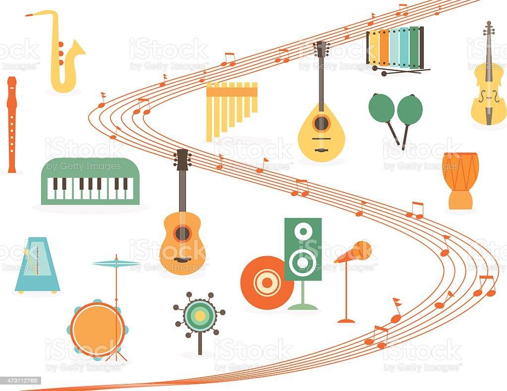 Music instruments vector art illustration