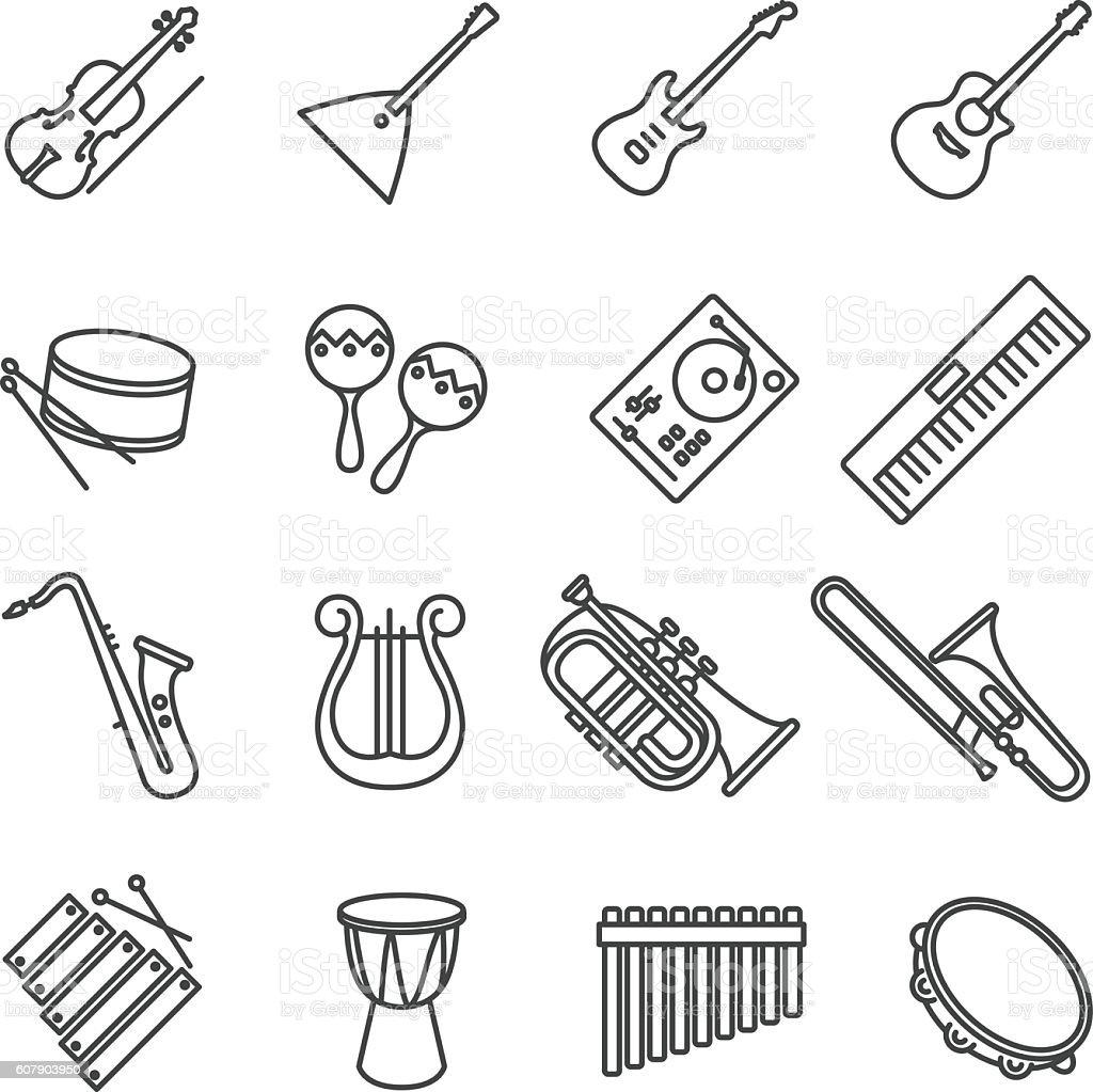 music instruments. vector stock icons vector art illustration