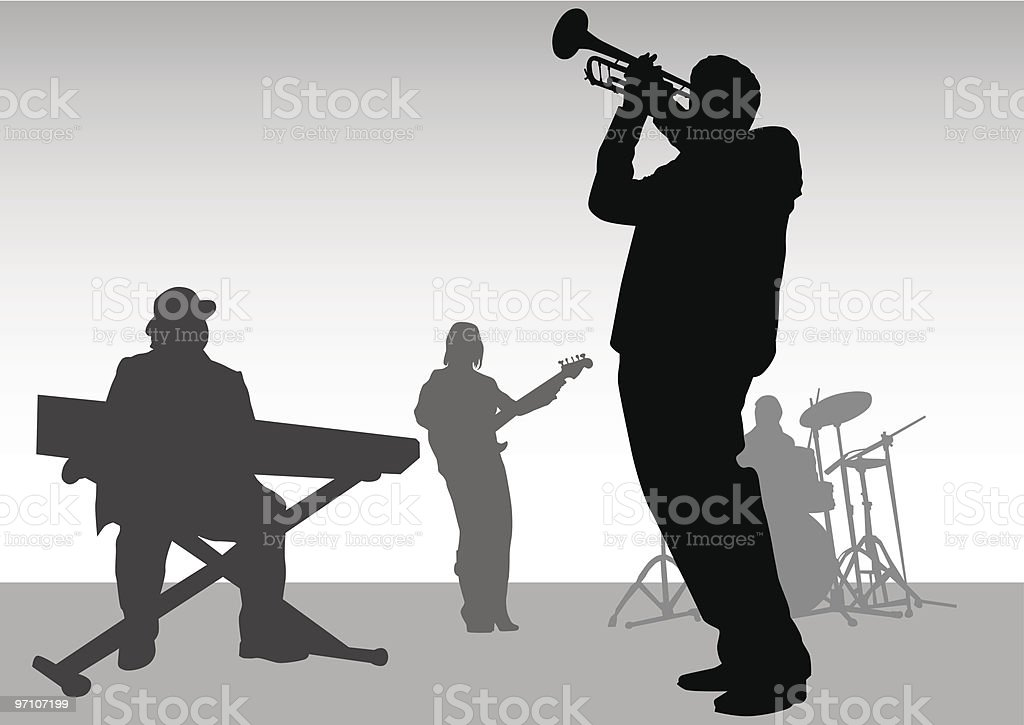 Music jazz vector art illustration