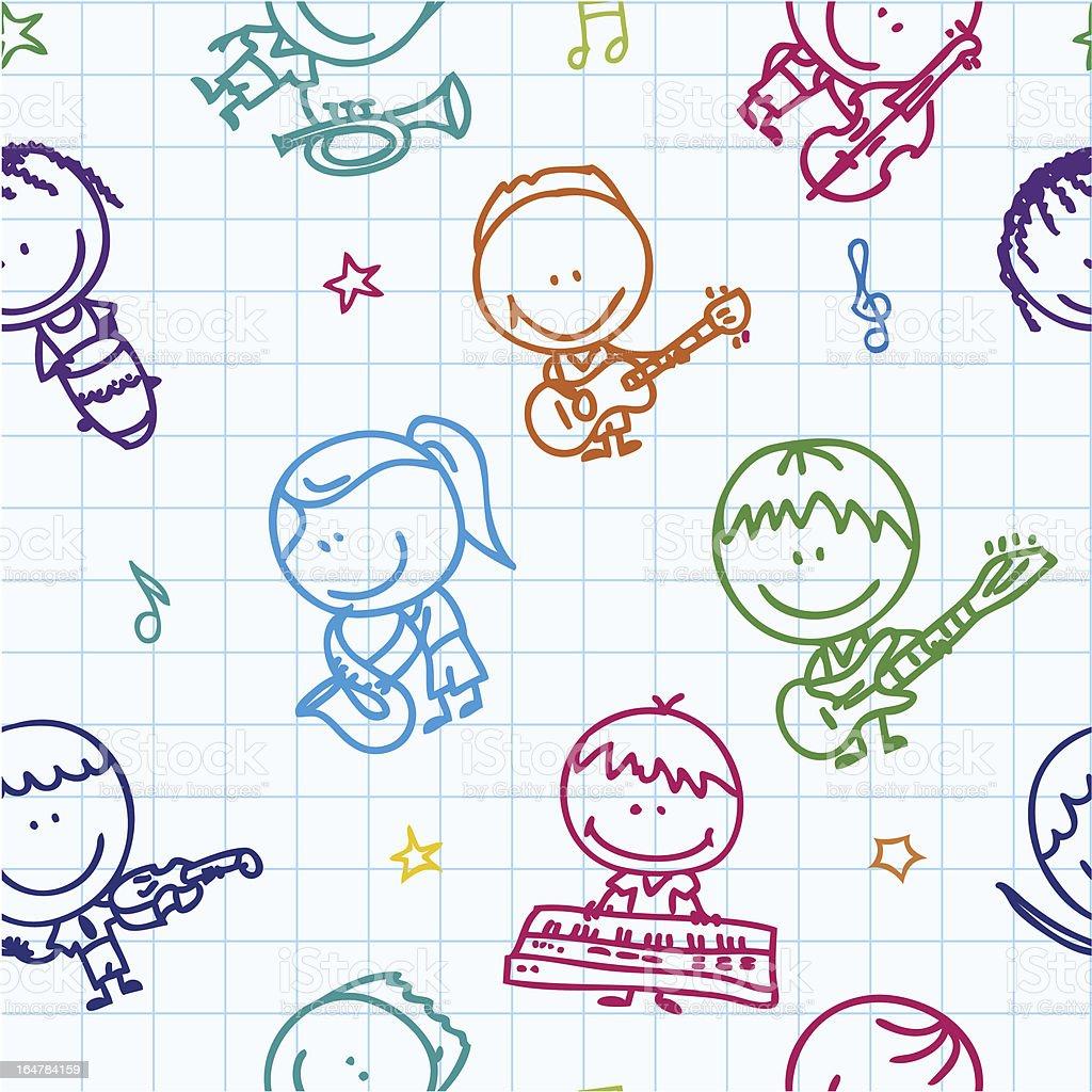 Music kids pattern royalty-free stock vector art