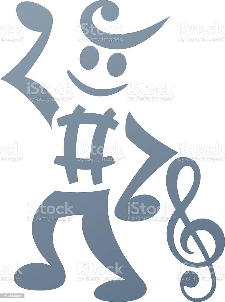 Music Man vector art illustration