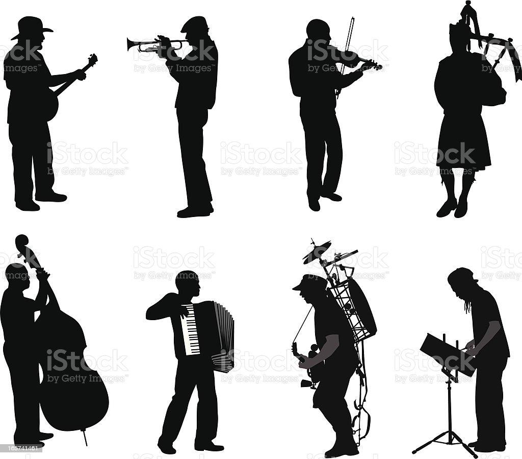 Music Men Vector Silhouette vector art illustration