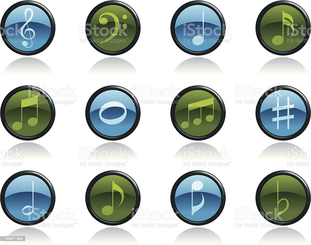Music Note Icon Symbols in Glossy Button Shape vector art illustration