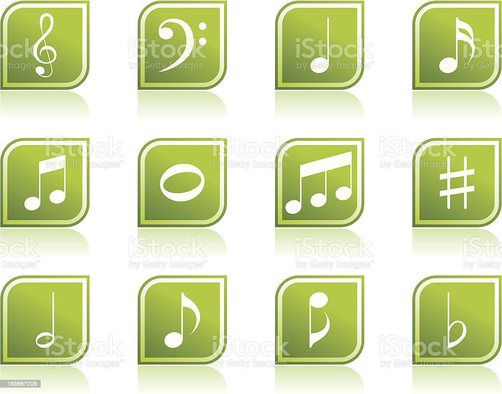Music Note Icon Symbols in Modern Green Leaf Shape vector art illustration