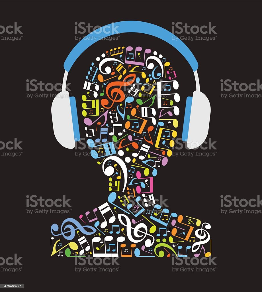 Music note in shape of human head with headphones vector art illustration