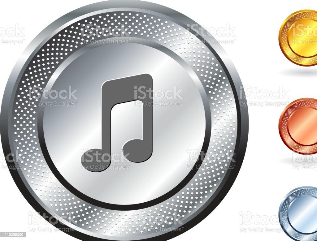 Music note royalty free vector art on metallic button royalty-free stock vector art