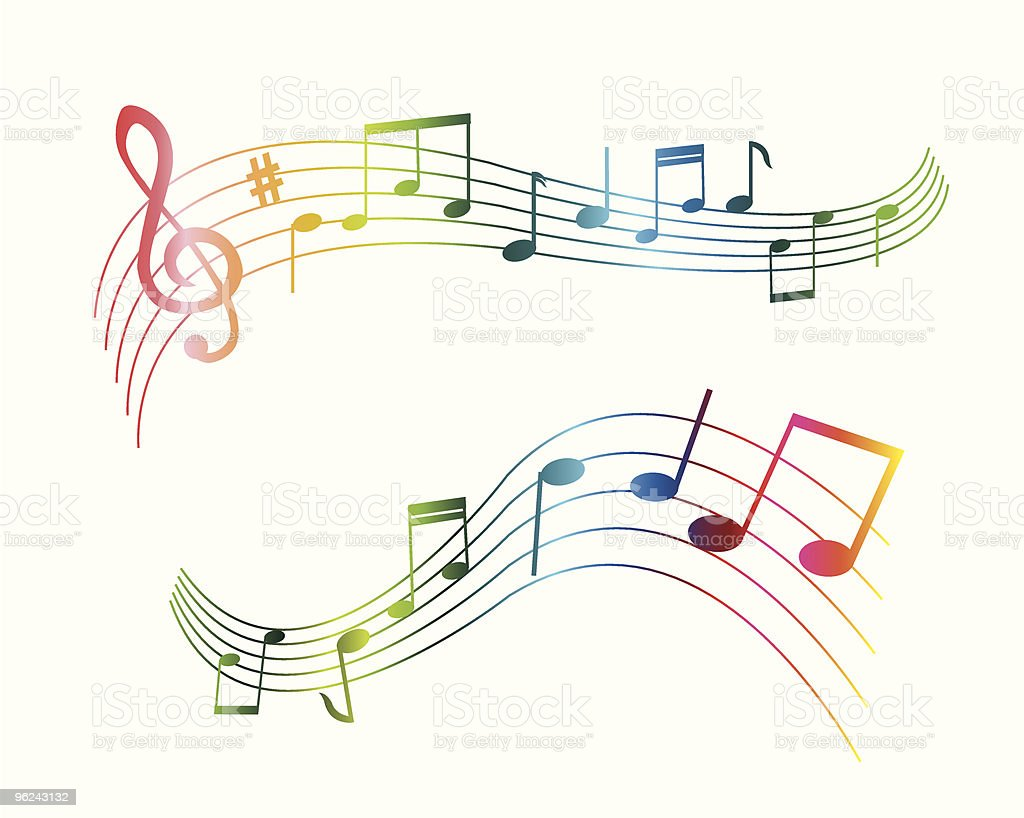 music note s of different colors vector art illustration