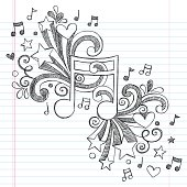 Music Note Sketchy Notebook Doodle Vector Design