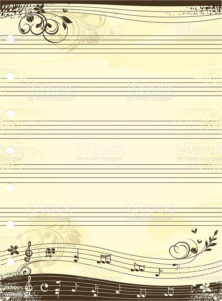 Music notebook template royalty-free stock vector art