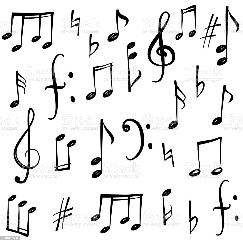 Music notes and signs collection vector art illustration