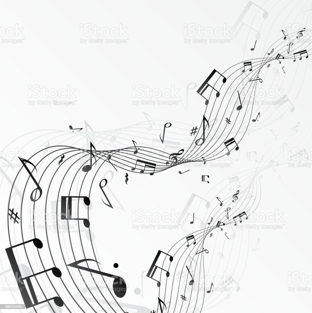 Music notes background vector art illustration