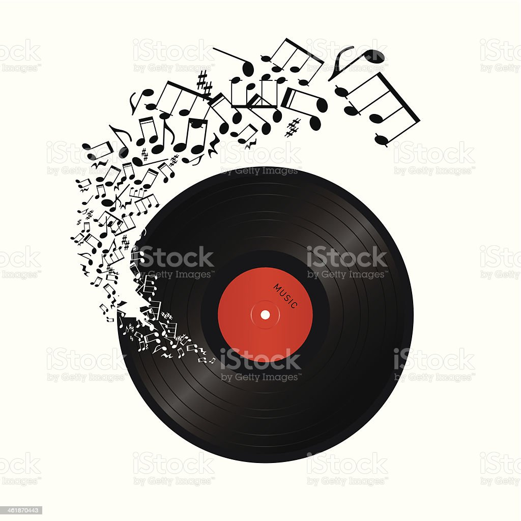 music notes coming out of the hole in vinyl vector art illustration