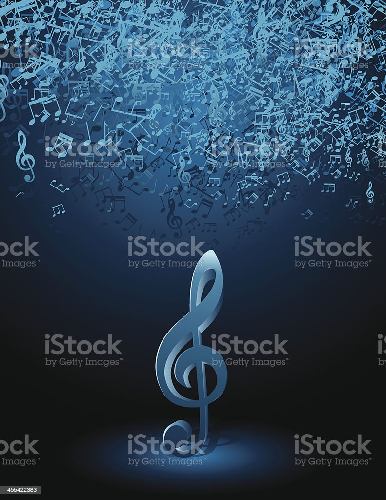 Music Notes on Spot Light vector art illustration