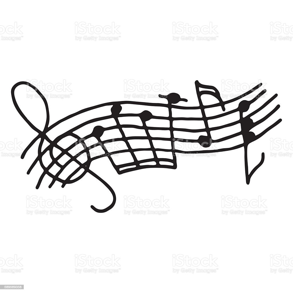 Music notes on stave. Outlined vector art illustration