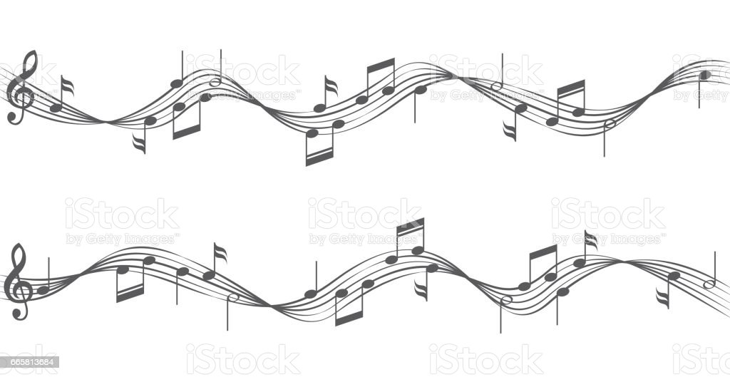 Music notes on staves vector art illustration