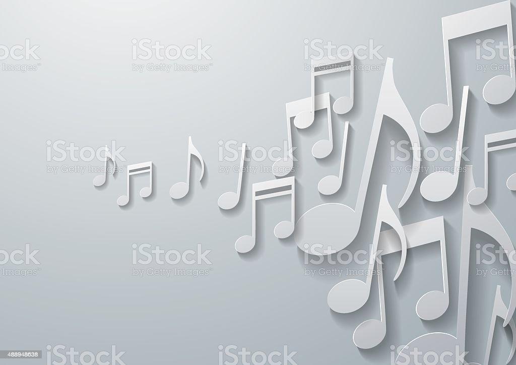 Music Notes on White Paper Background vector art illustration