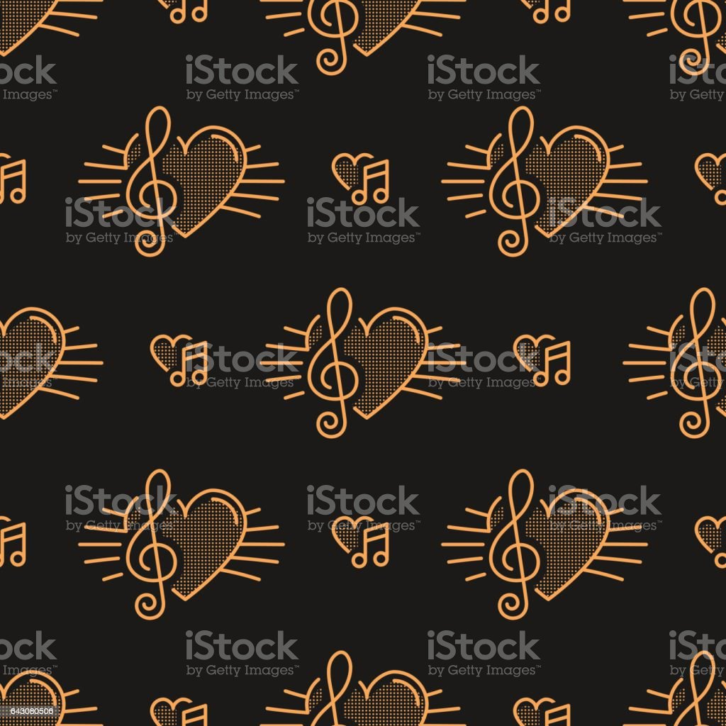 Music notes seamless pattern, treble clef, thin line art vector art illustration