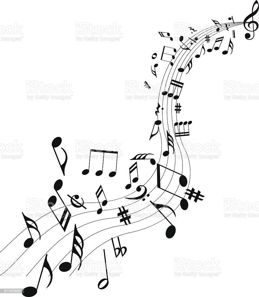 Music notes vector art illustration