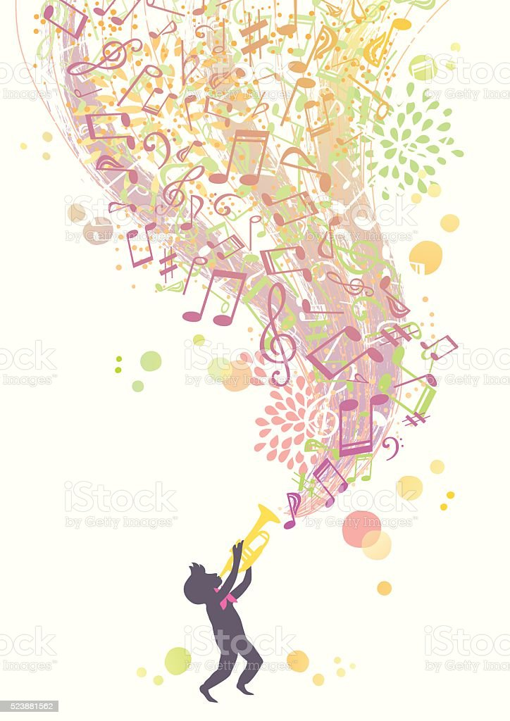 Music of the Trumpet vector art illustration