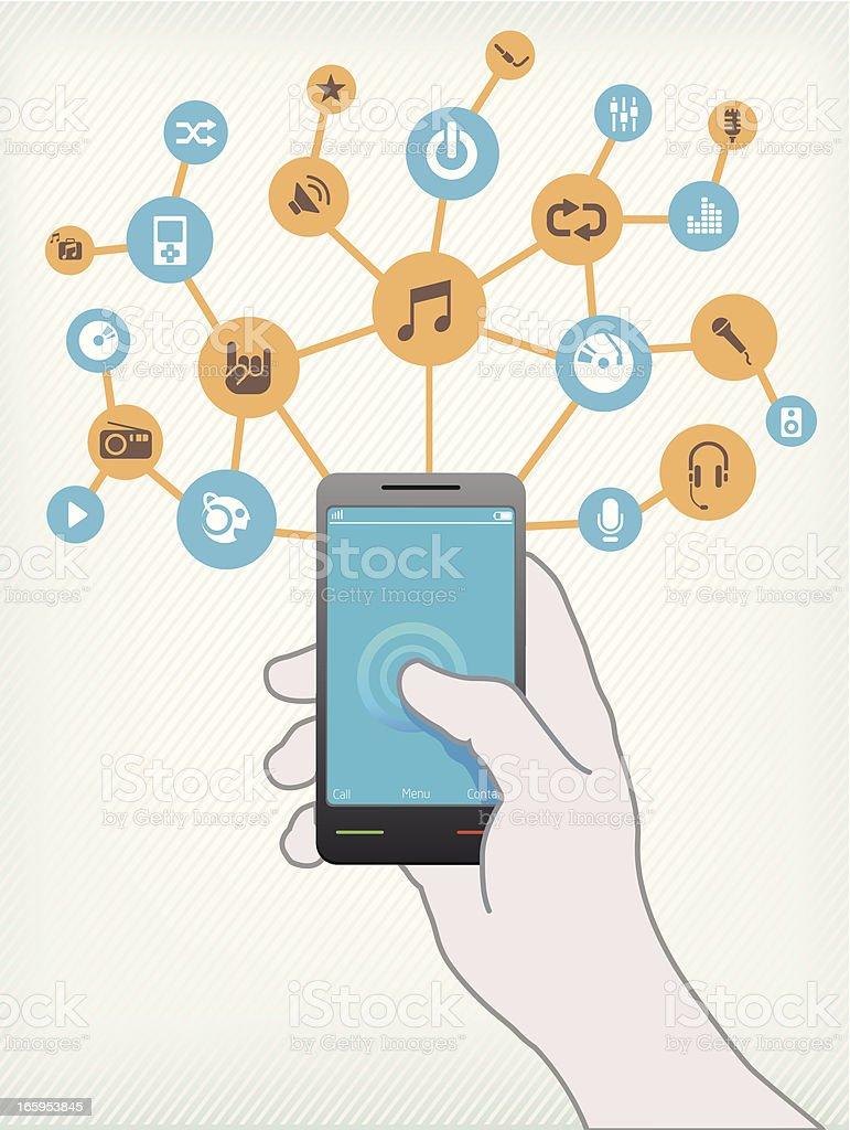 Music on Smartphone vector art illustration