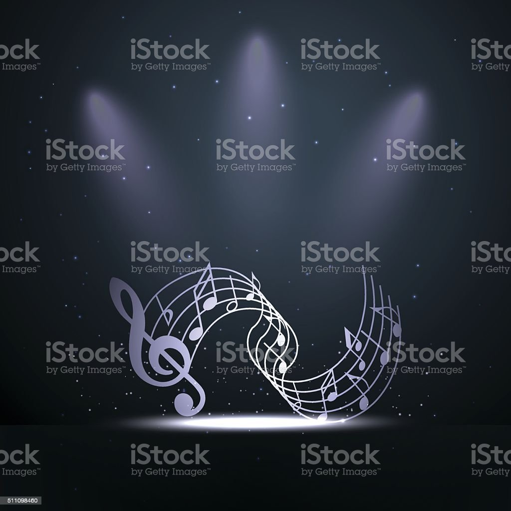 Music on the stage - poster template vector art illustration