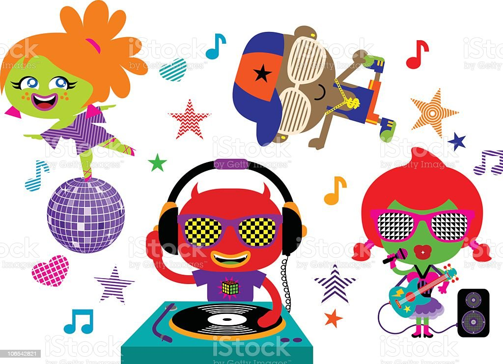 Music party crew vector art illustration