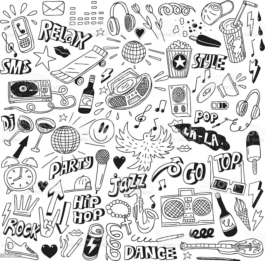 Music party - doodles collection vector art illustration