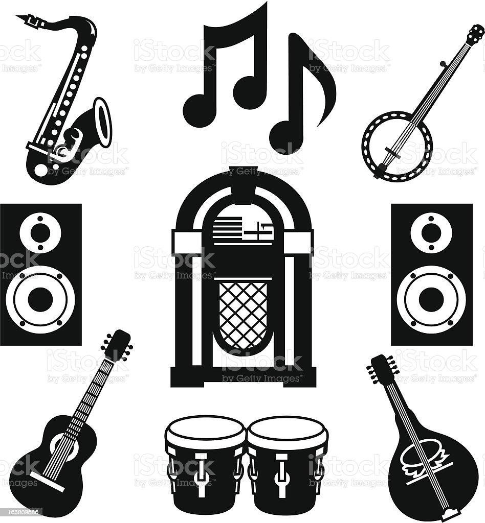 music party icons vector art illustration