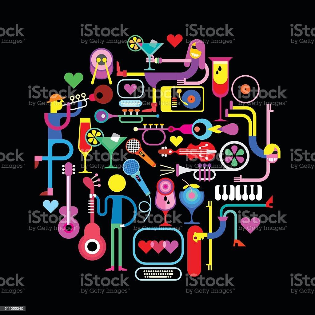 Music Party Round Illustration vector art illustration