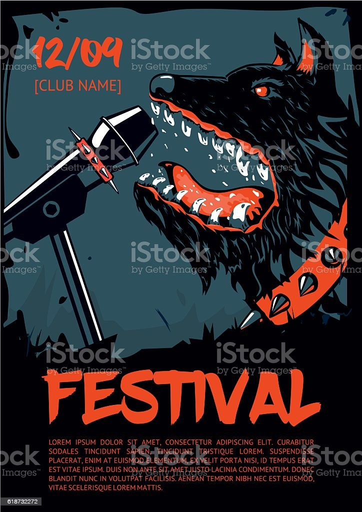 Music poster template for rock concert. Dog with microphone. vector art illustration