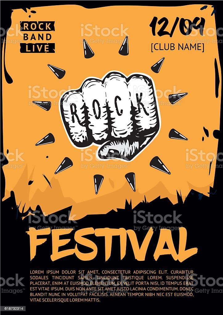 Music poster template for rock concert. Hand with tattoo. vector art illustration