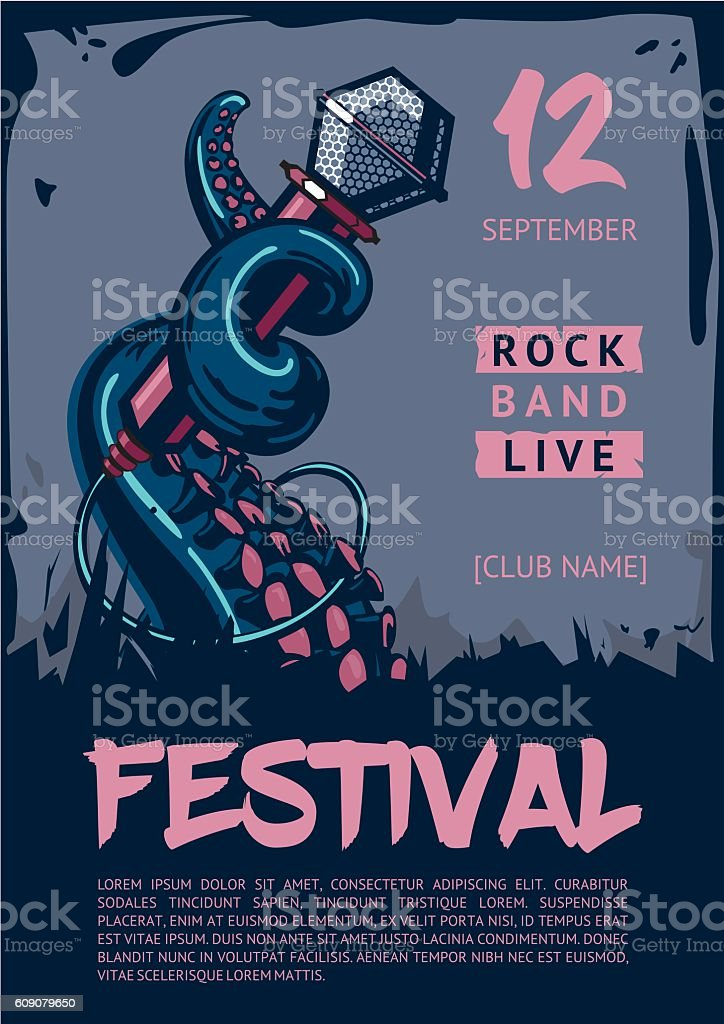 Music poster template for rock concert. Octopus is holding microphone. vector art illustration