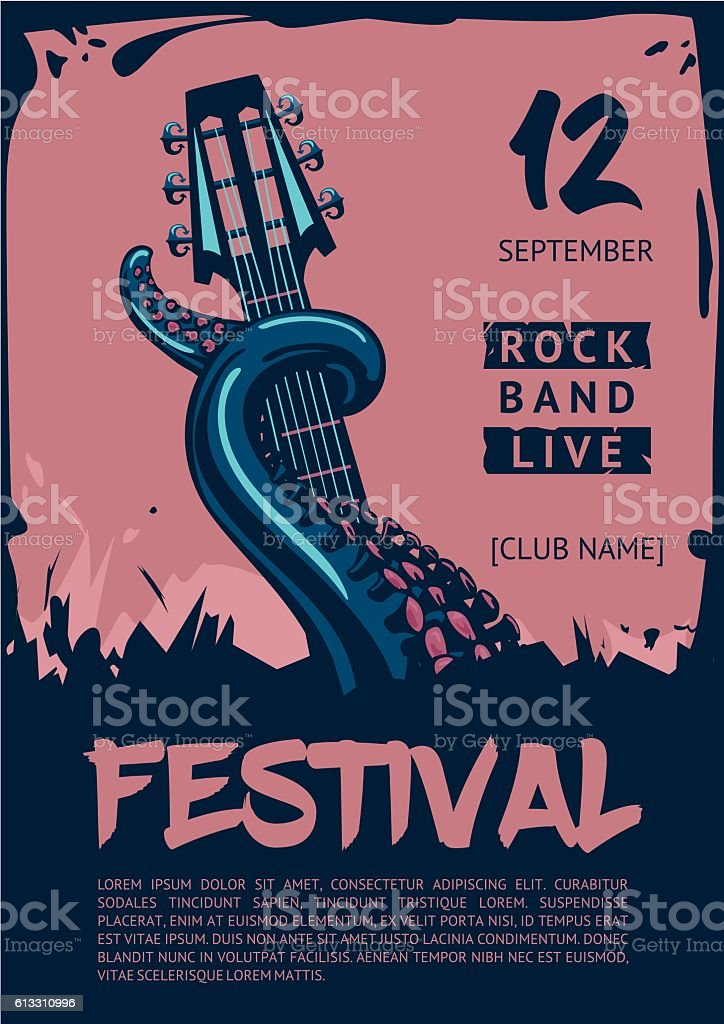 Music poster template for rock concert. Octopus with guitar. vector art illustration