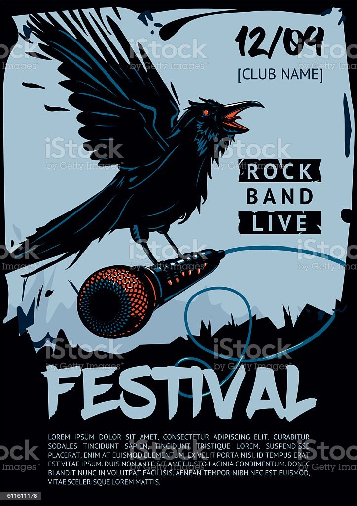 Music poster template for rock concert. Raven is holding microphone. vector art illustration