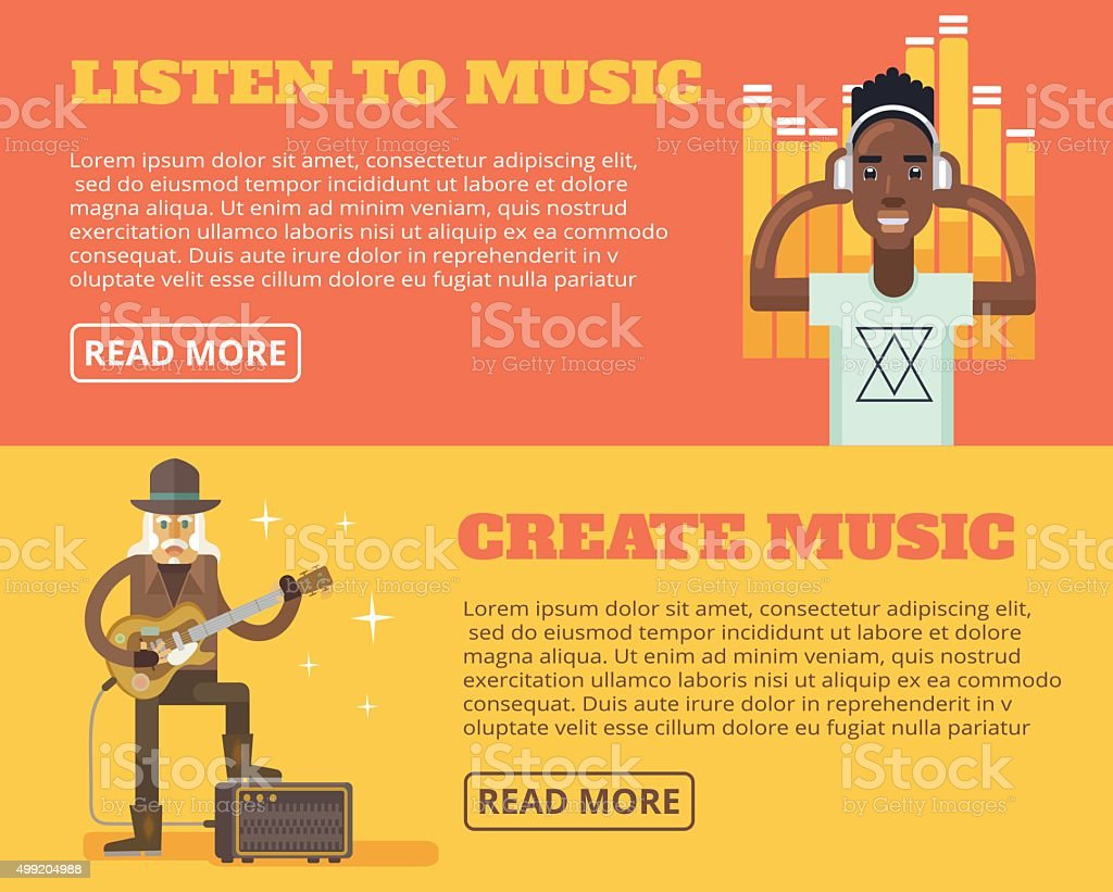 Music poster. Vector flat illustration set vector art illustration