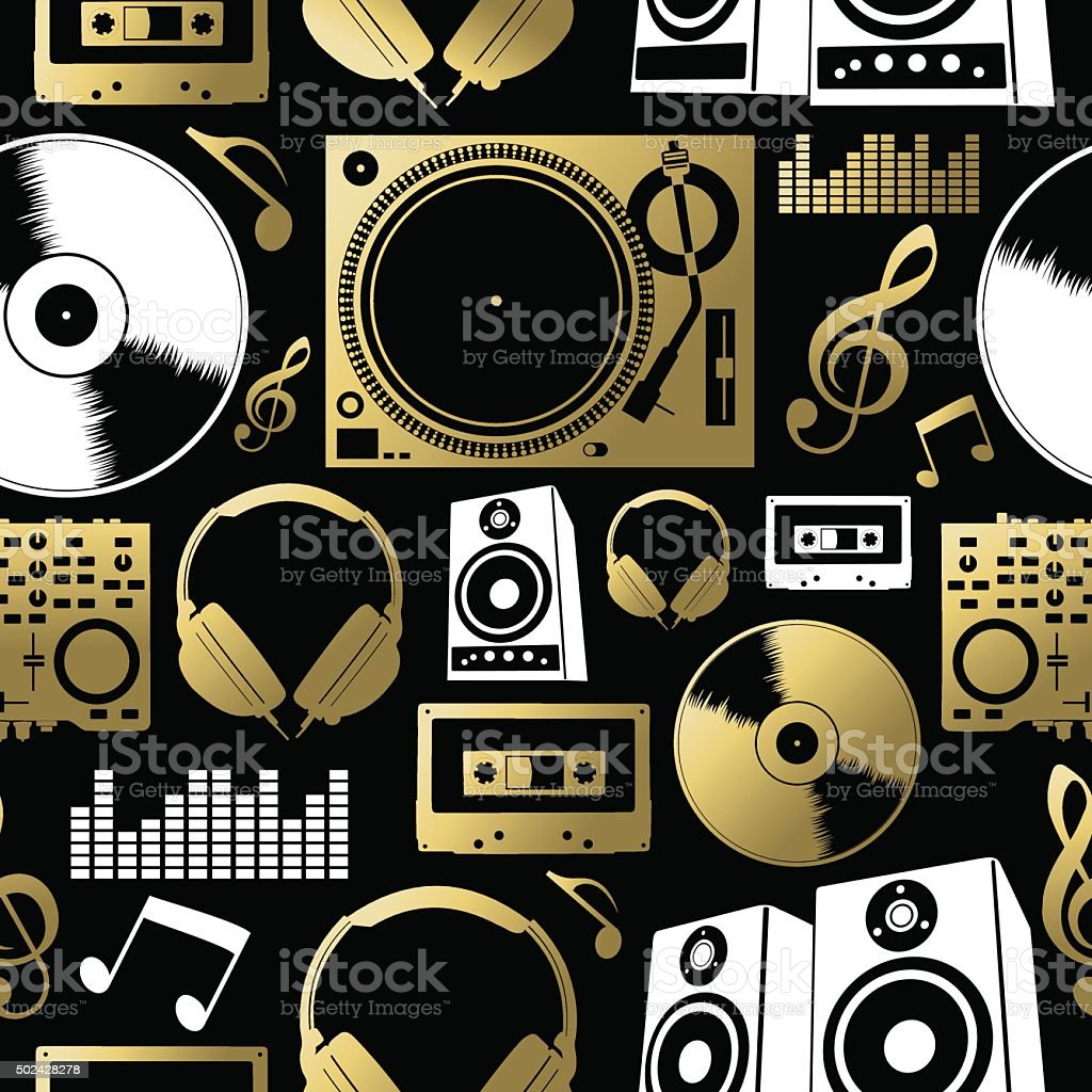 Music seamless pattern icon dj rock party club set vector art illustration