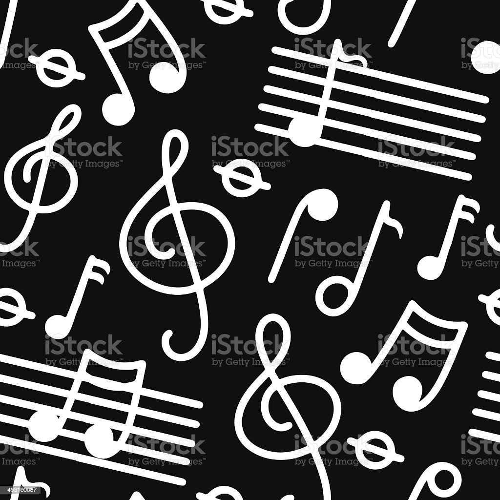 Music seamless pattern in black and white vector art illustration