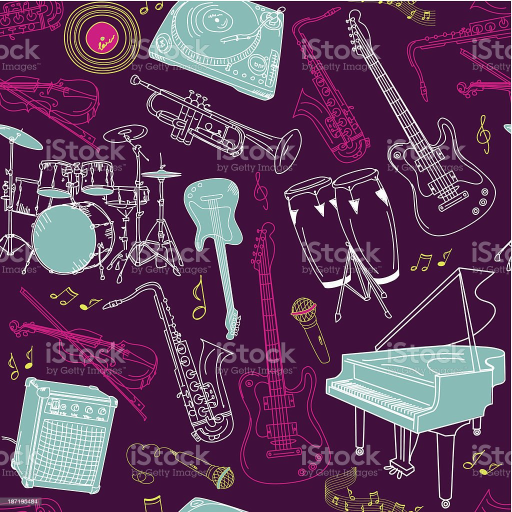 music seamless pattern royalty-free stock vector art