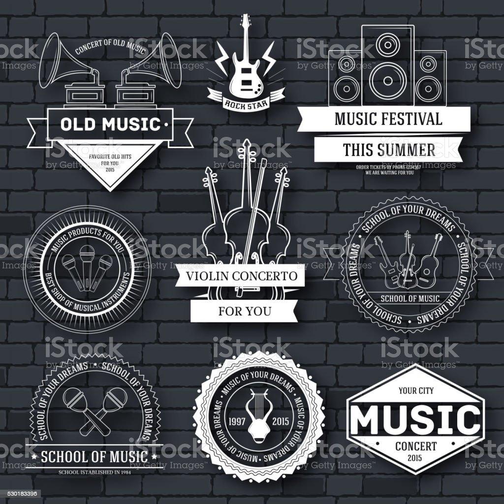 Music set label template of emblem element vector art illustration