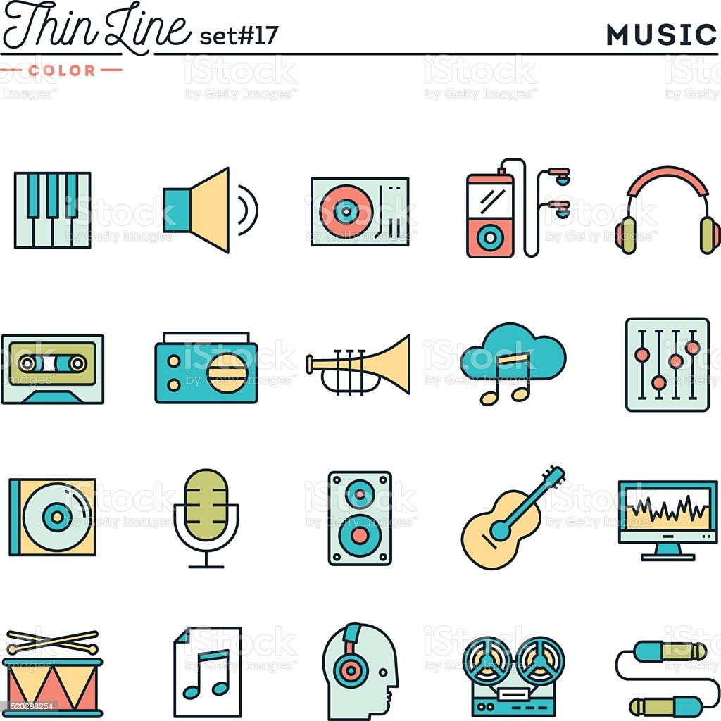 Music, sound, recording, editing and more, thin line color icons vector art illustration