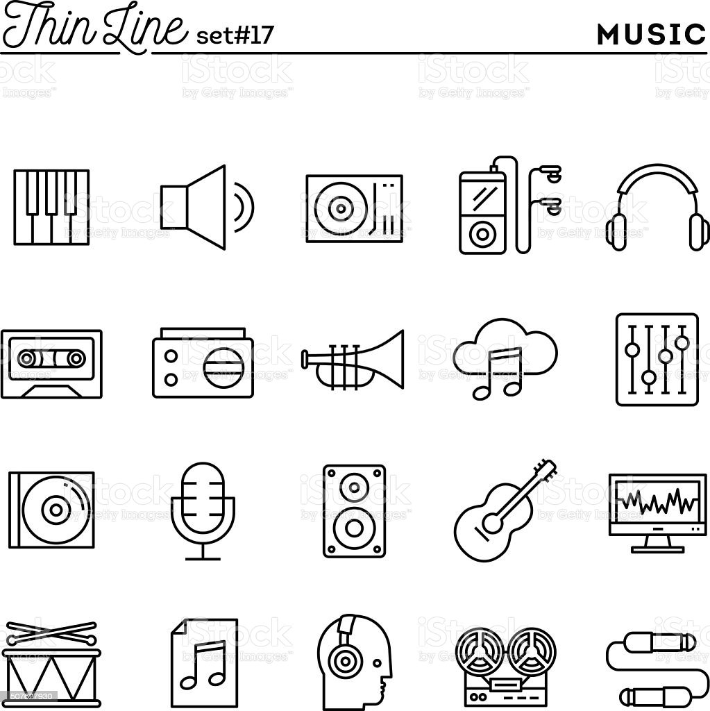 Music, sound, recording, editing and more, thin line icons set vector art illustration