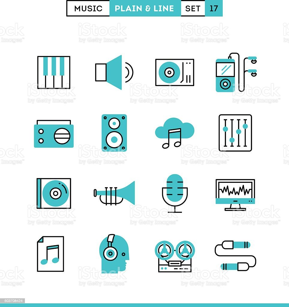 Music, sound, recording, editing and more. vector art illustration