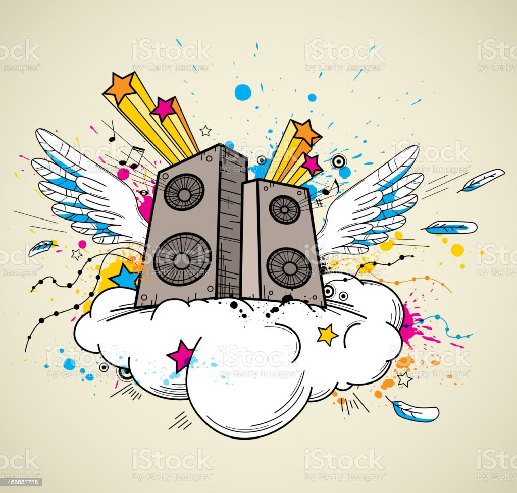 Music speakers and cloud vector art illustration