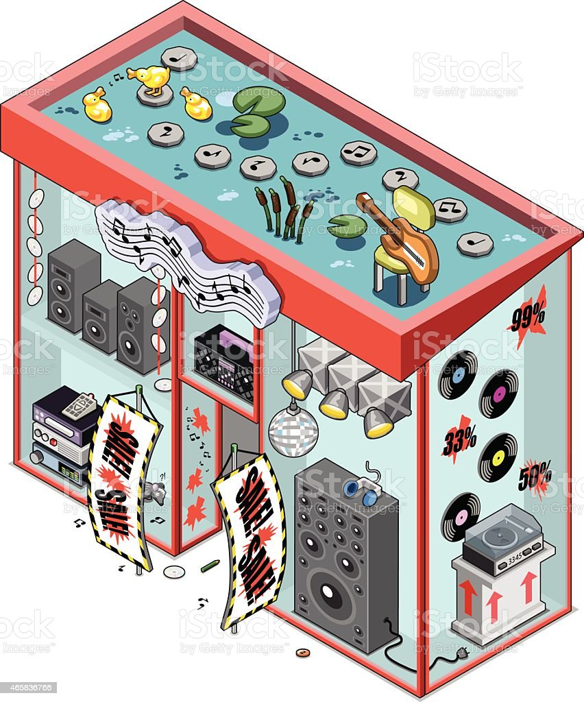 Music store offers hifi equipment, records and CDs vector art illustration